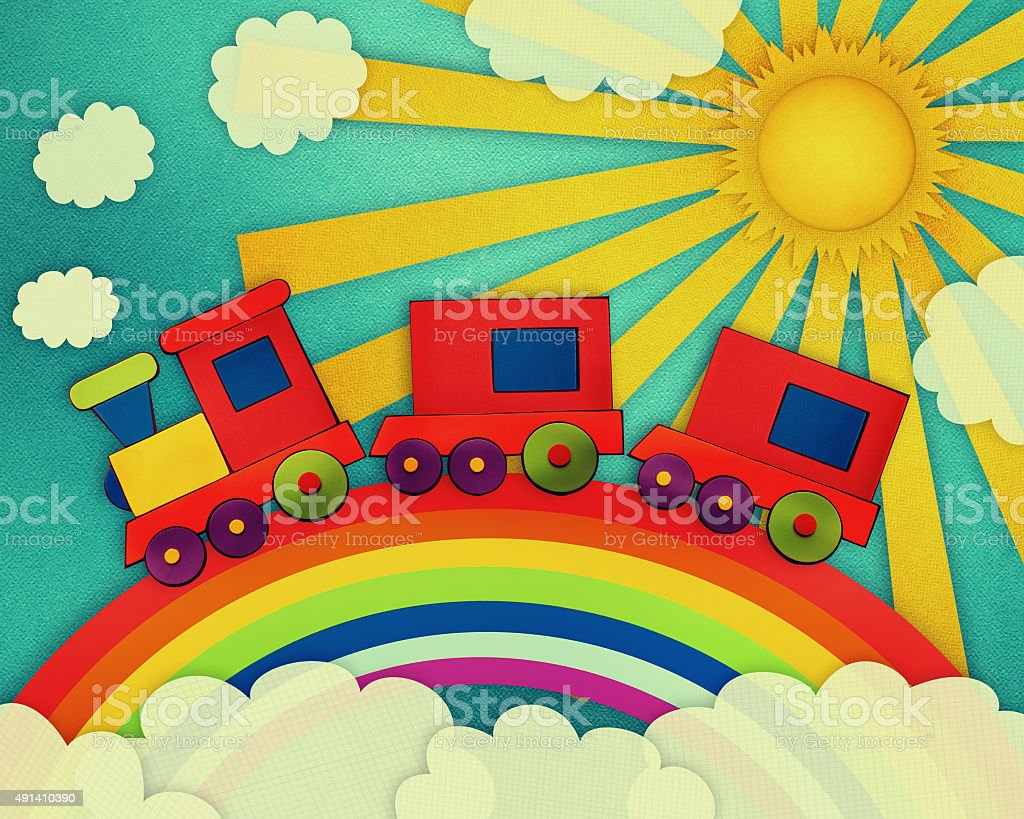 Baby card with colorful train. Paper cut style. stock photo
