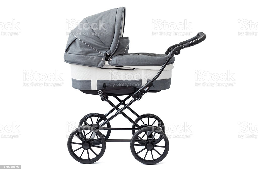 Baby carriage on white background stock photo