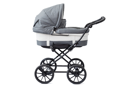Baby Carriage On White Background Stock Photo - Download Image Now