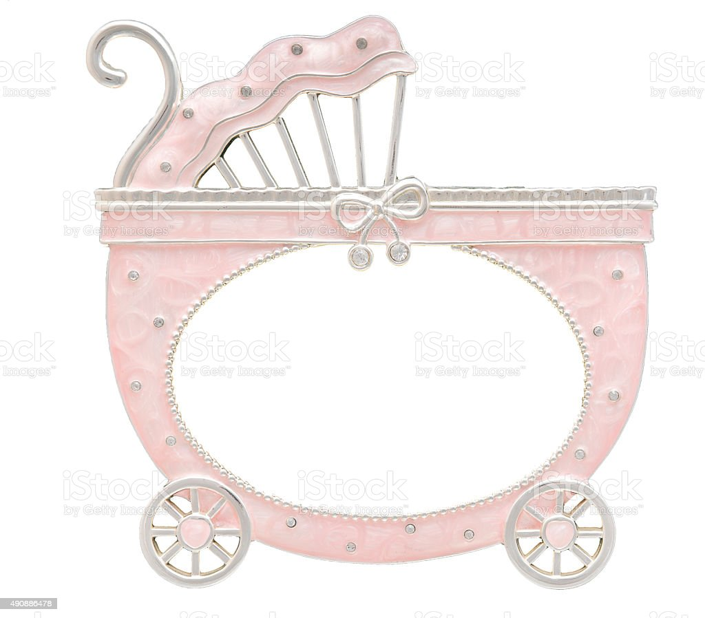 Baby carriage shaped frame isolated on white stock photo