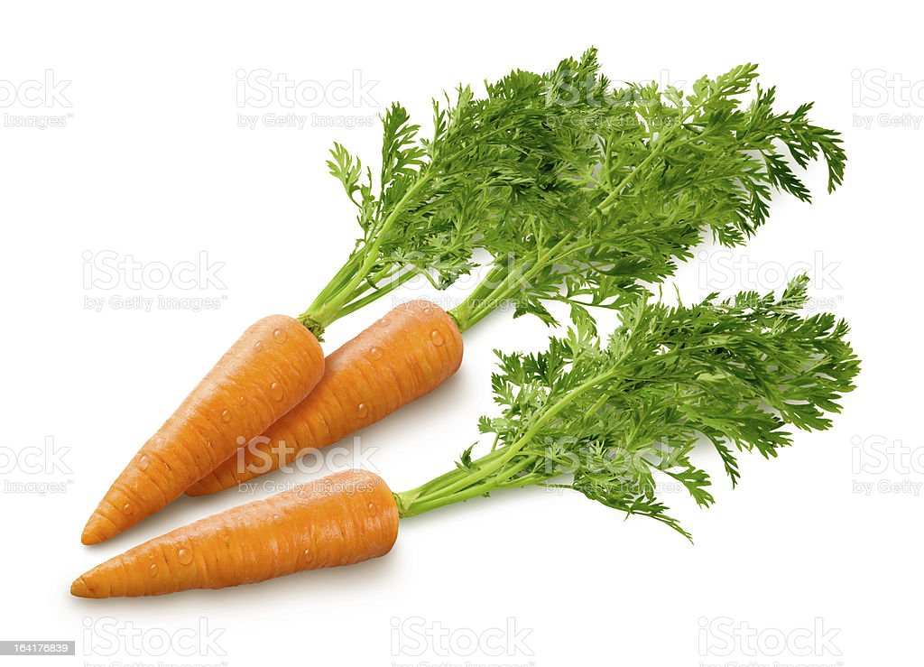 Baby Carrots Isolated on white stock photo