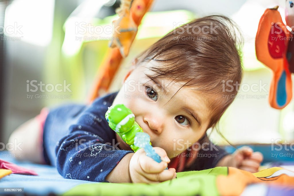 Baby chewing a teething toy stock photo