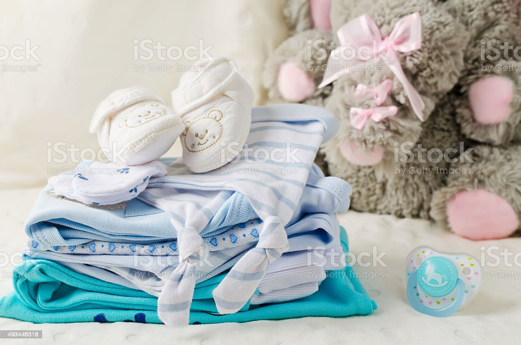 Baby clothes for newborn stock photo