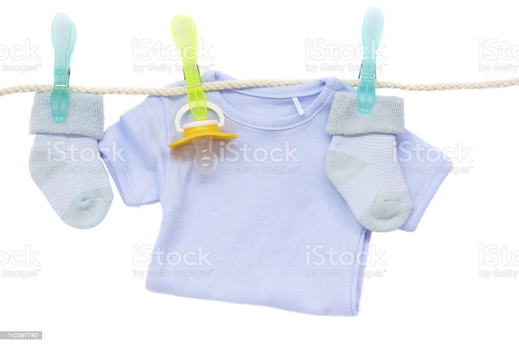 baby clothes hanging on rope royalty-free stock photo