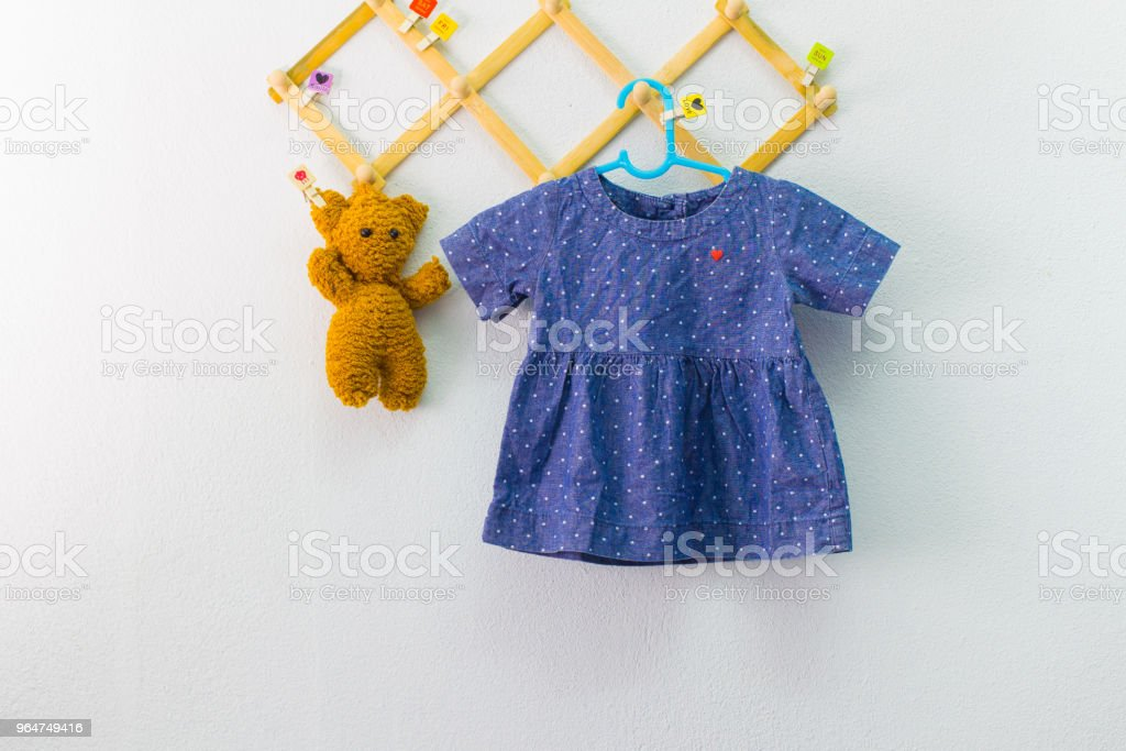 Baby clothes hanging on the clothesline. royalty-free stock photo