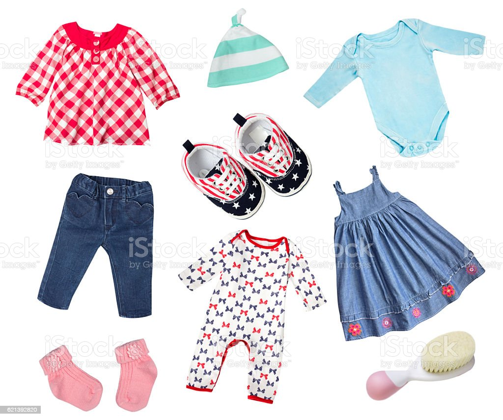 Baby clothes isolated collage. stock photo