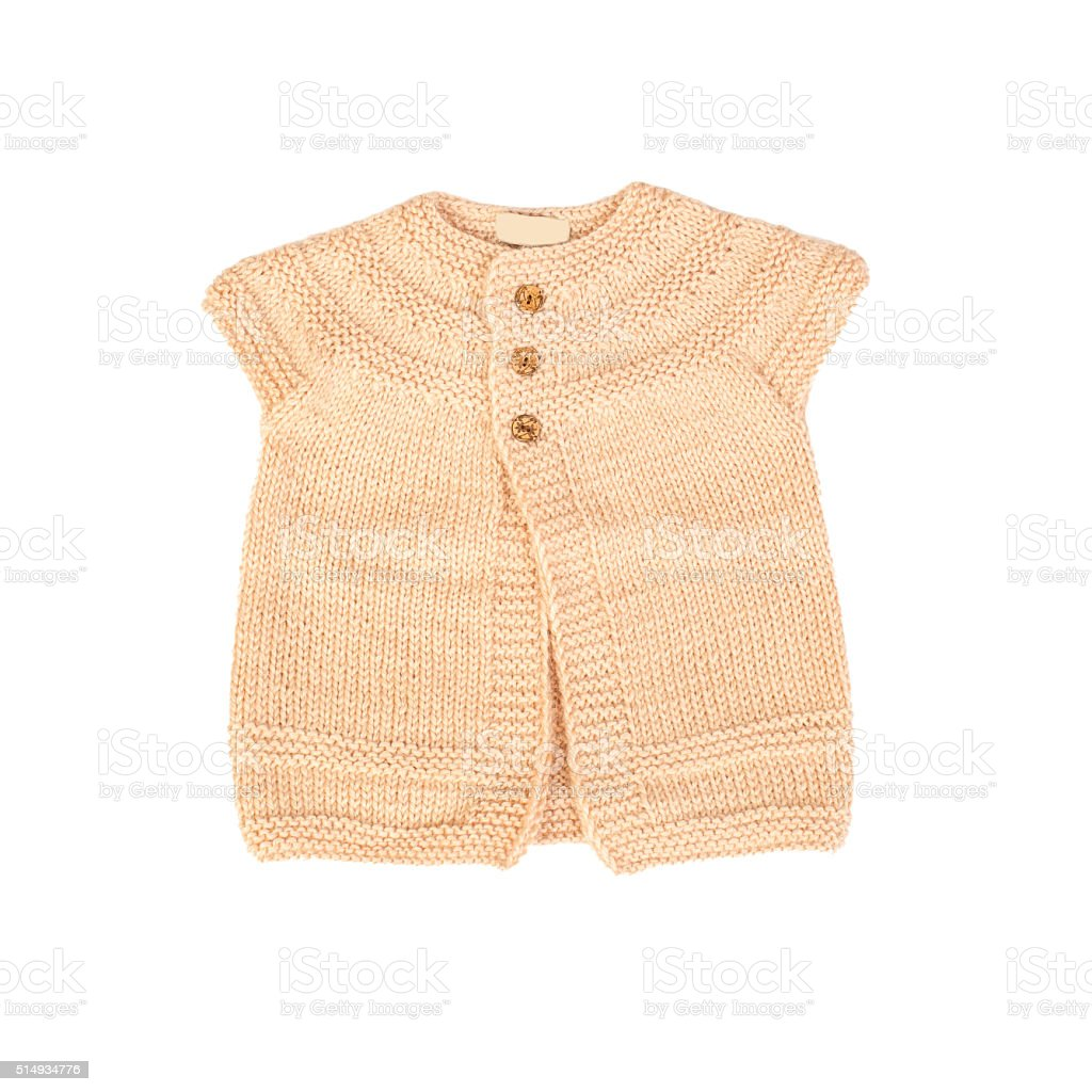 baby clothes (knitted sweater, isolated) stock photo