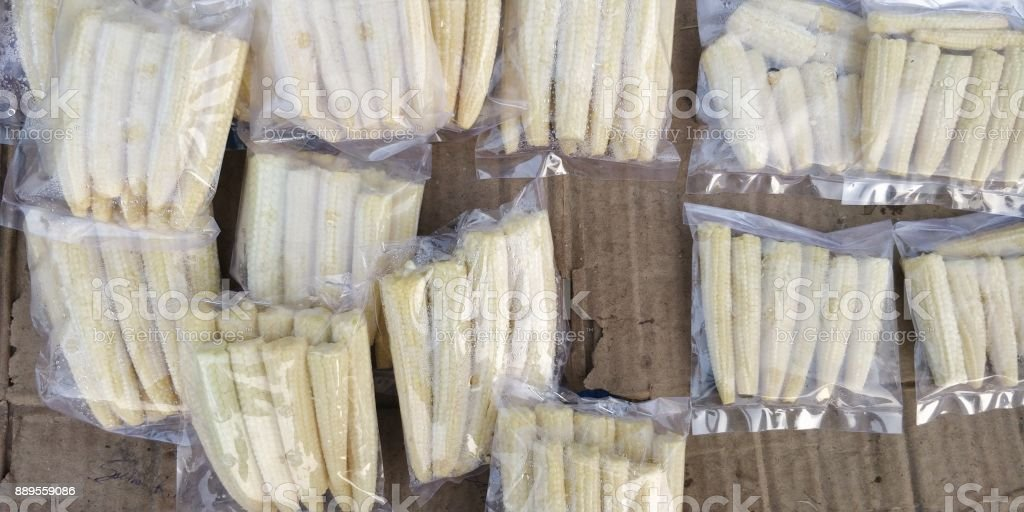 Baby corn for sale stock photo