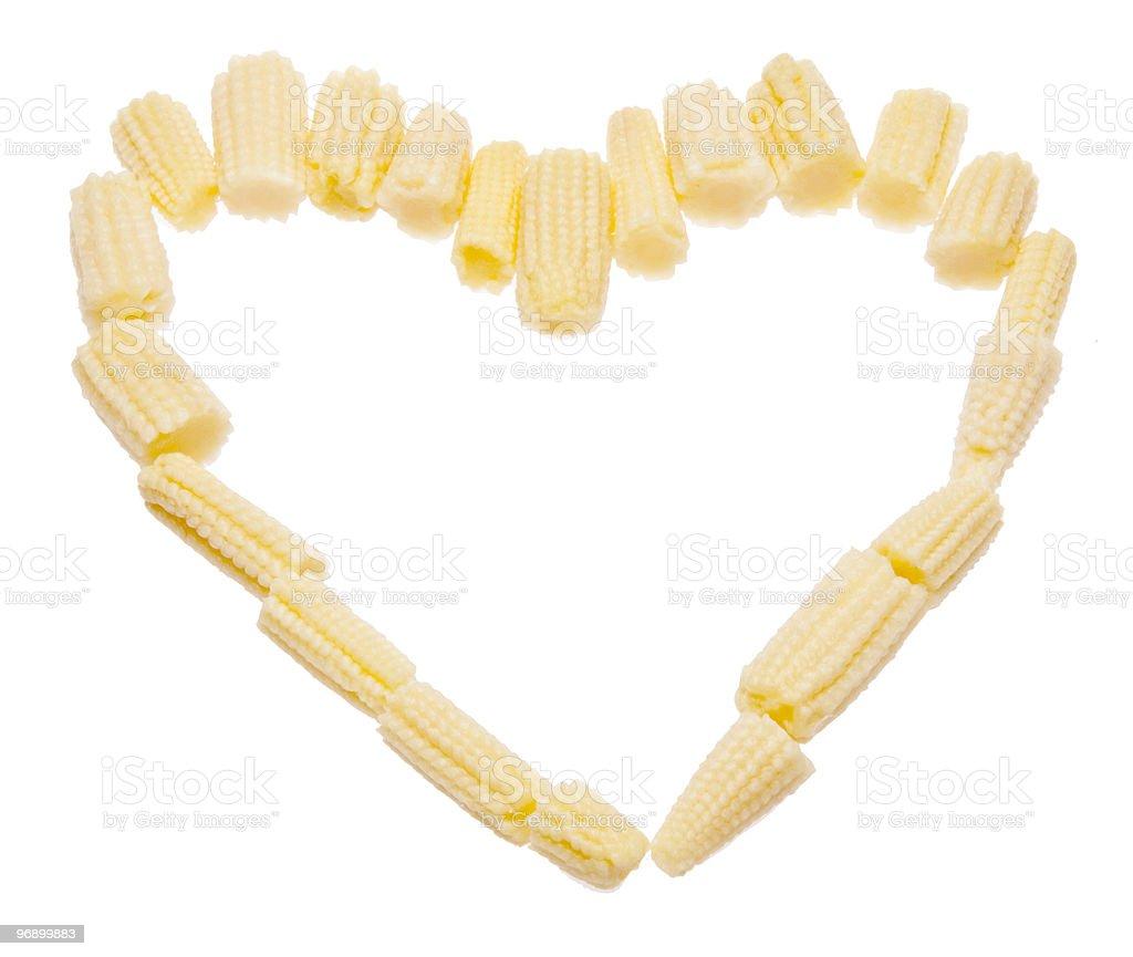 Baby Corn Heart royalty-free stock photo