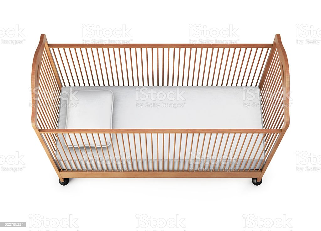 Baby cot isolated on white background. 3d rendering stock photo
