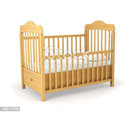istock Baby cot isolated under the white background 489117256