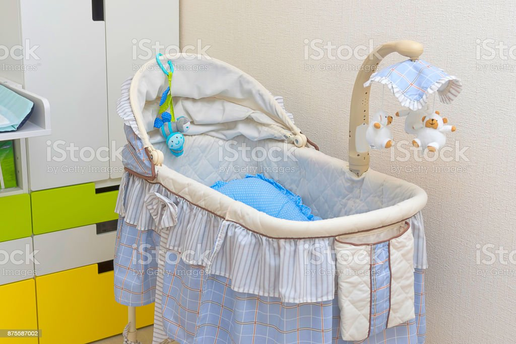 Baby cradle close-up stock photo