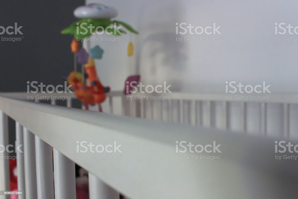 A baby crib from perspective stock photo