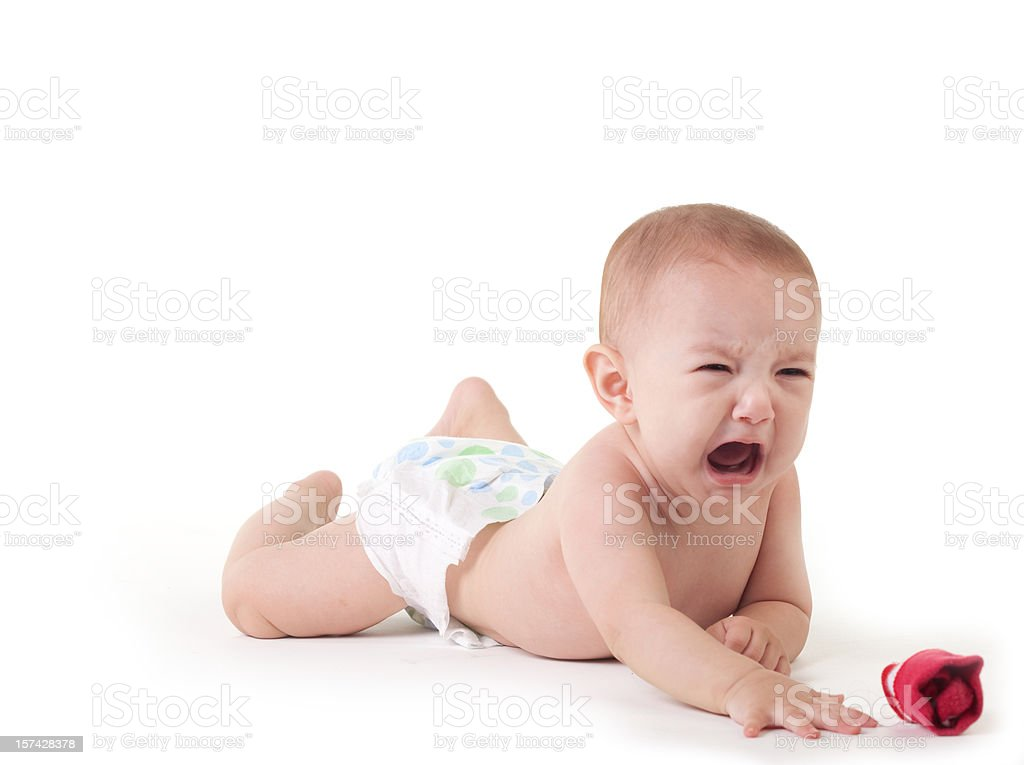 Baby crying on white stock photo