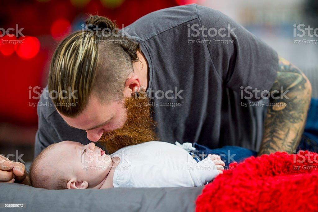 Baby Cuddles stock photo