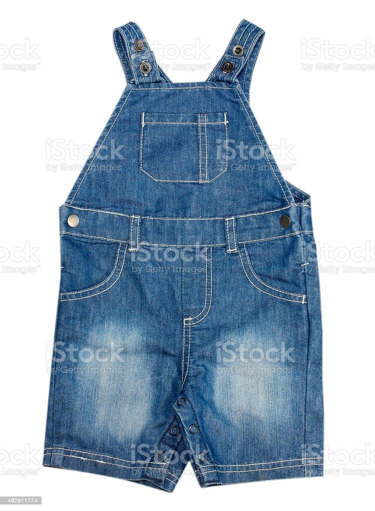 Baby denim jump suit isolated. stock photo