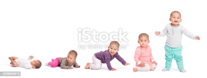 Baby development stages - baby laying,baby on stomach, crawling, sitting, and finally standing. Isolated on white background, cut out image with copy space.