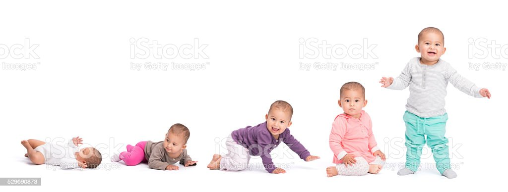 Baby development stages. stock photo