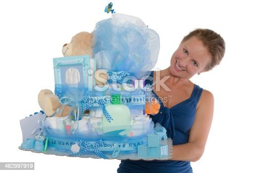 875685464 istock photo Baby Diaper Cake with Diffrent Items Presented 462997919