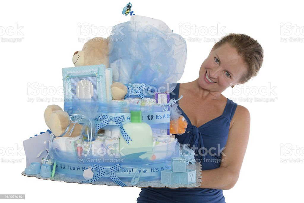Baby Diaper Cake with Diffrent Items Presented stock photo