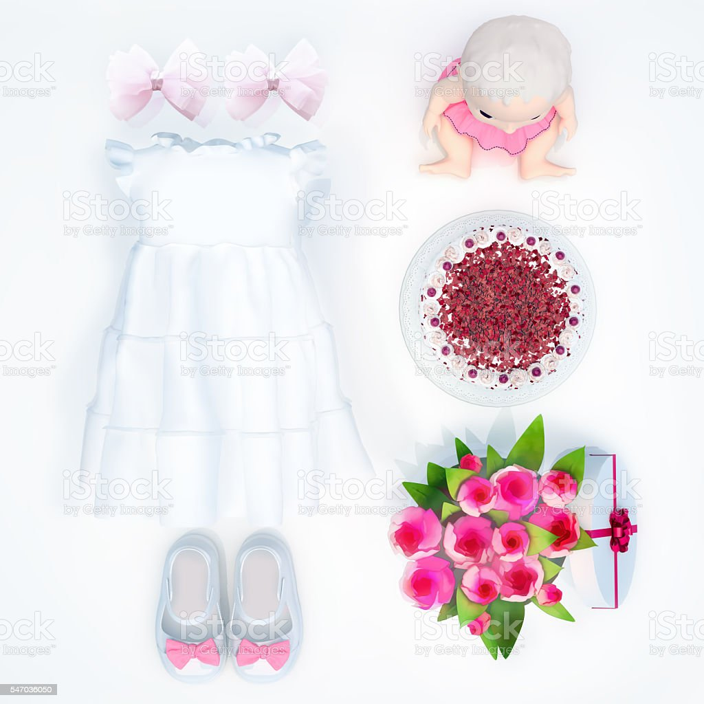 8508561574eb Baby Dress And Accessories On White Background Birthday Stock Photo ...