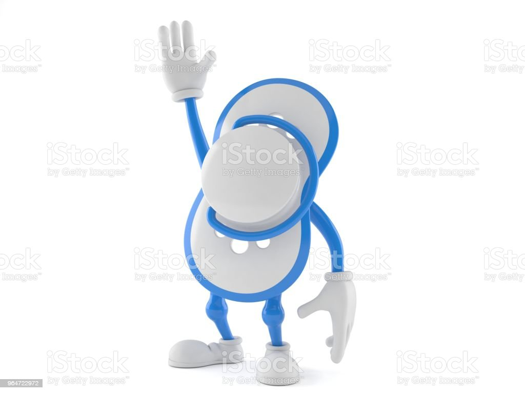 Baby dummy character with hand up royalty-free stock photo