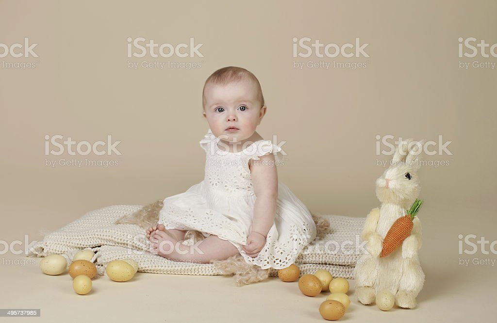 Baby Easter Bunny Eggs royalty-free stock photo