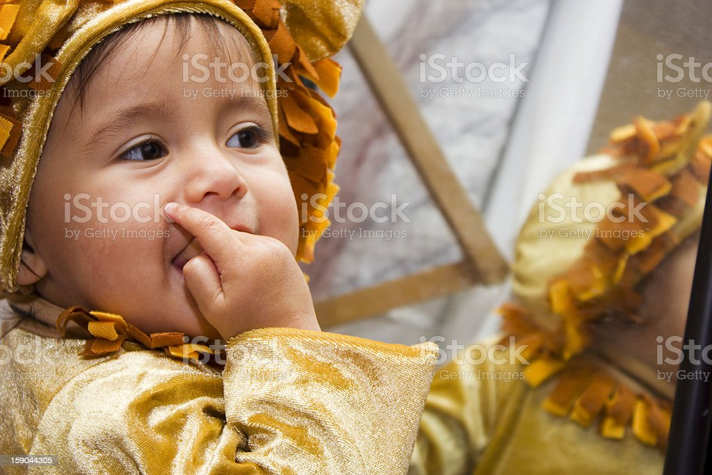 Baby eating fingers royalty-free stock photo