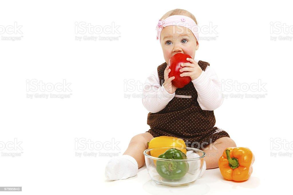 Baby eating royalty free stockfoto