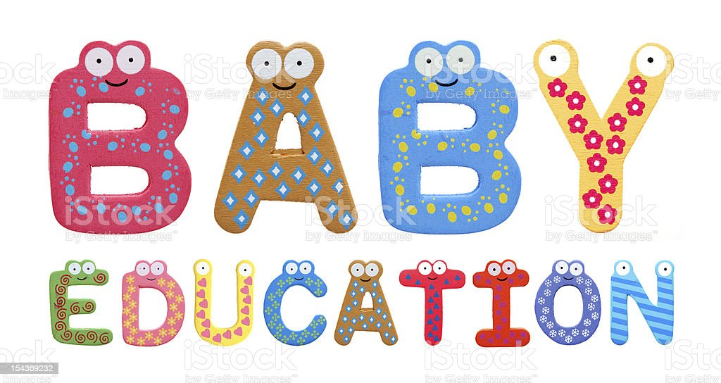Baby education with fridge letters isolated on white background royalty-free stock photo