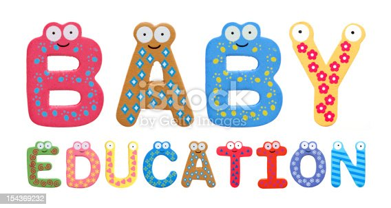 istock Baby education with fridge letters isolated on white background 154369232