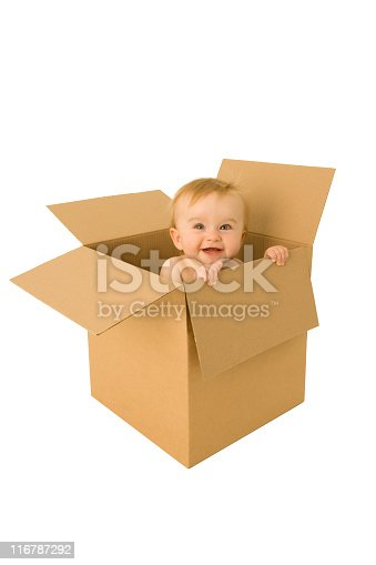 istock Baby emerges from a cardboard box 116787292