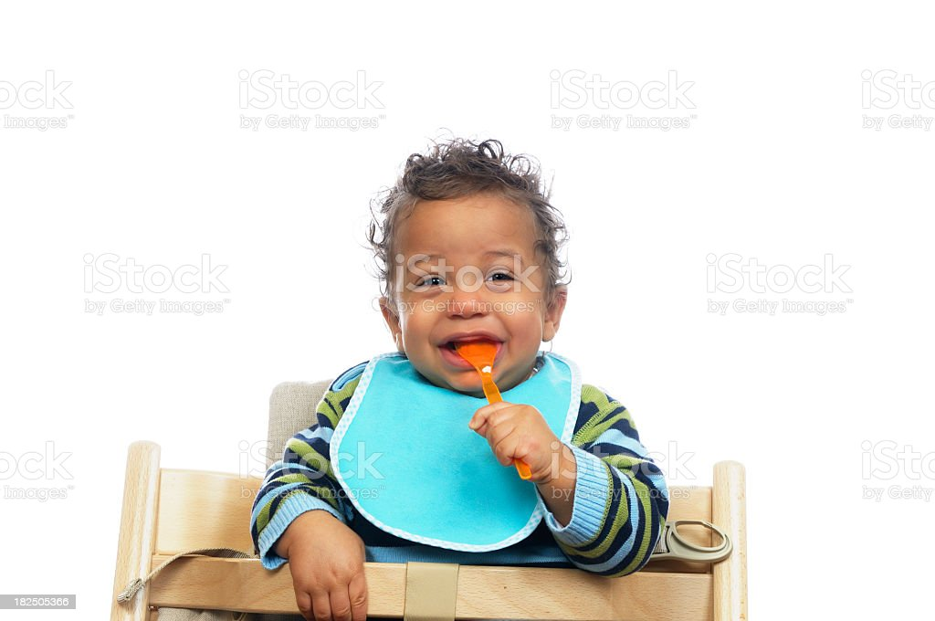 Baby Excited About His Meal stock photo