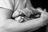 istock Baby feet in father hands. Black-and-white photo. Baby's feet in black and white 1189160076
