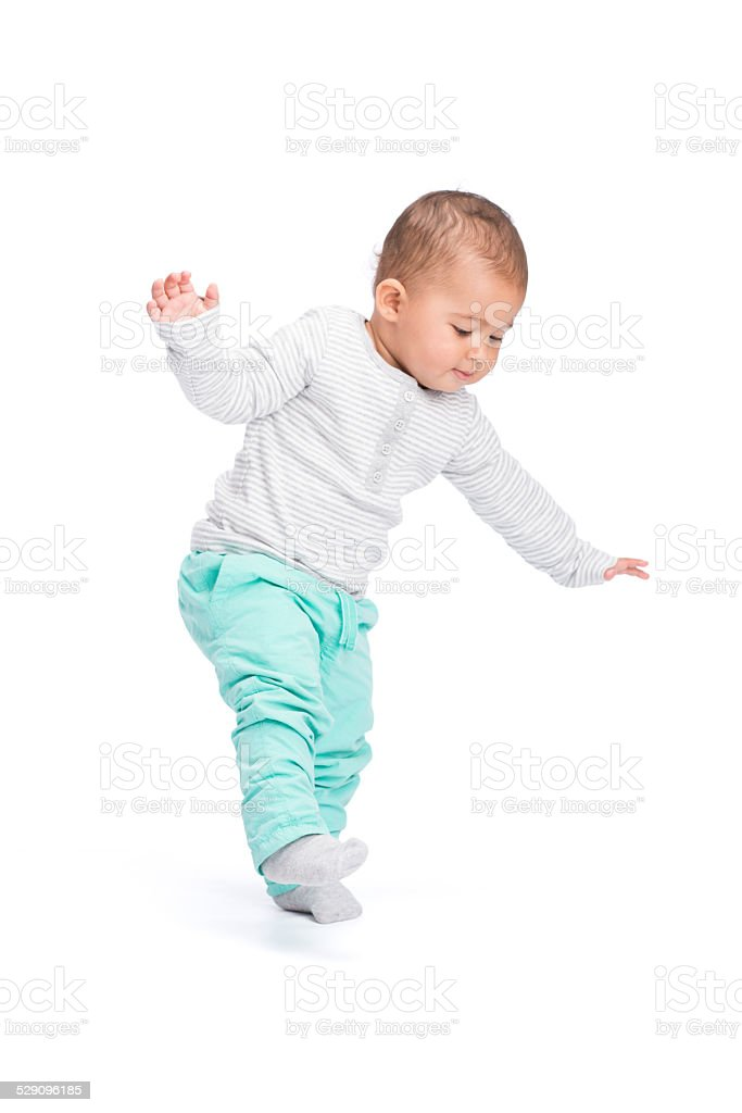 Baby first step. stock photo