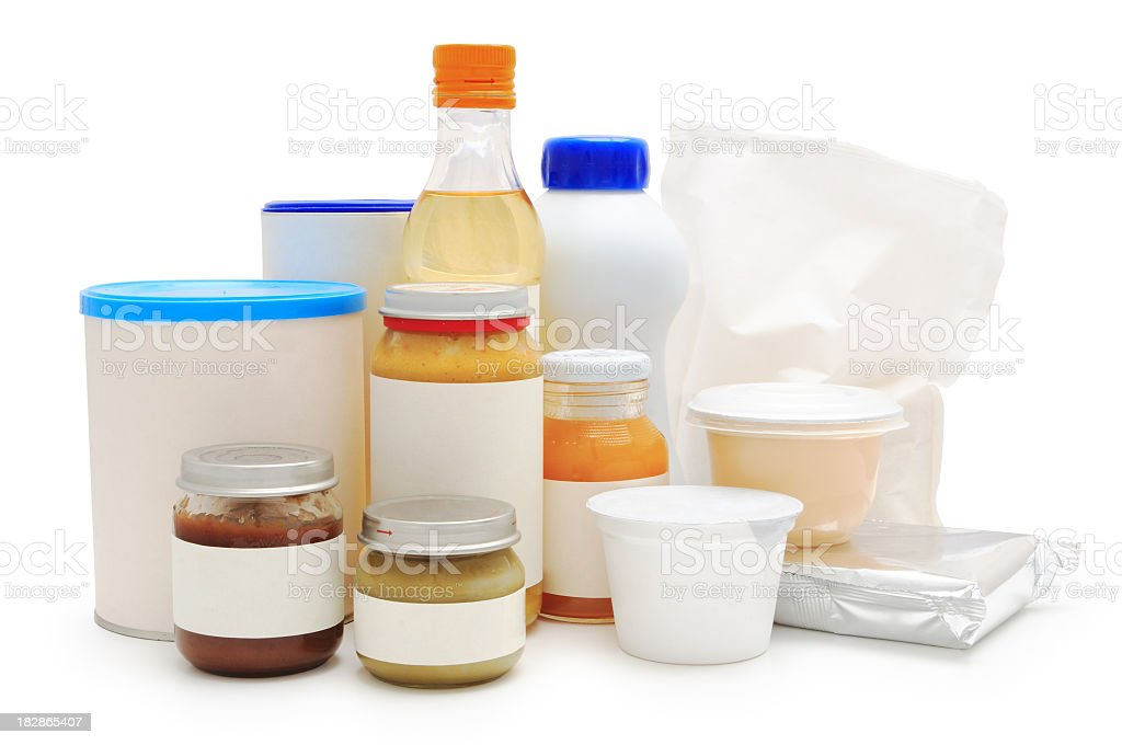 Baby food in various type of containers stock photo