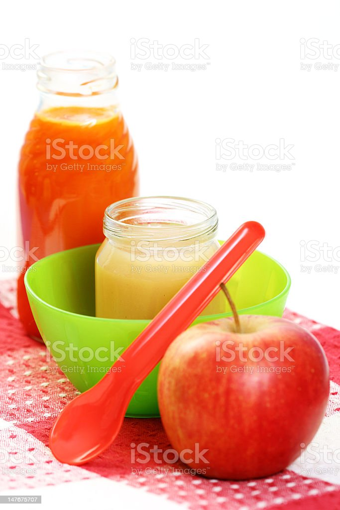 jar of apple and some fresh fruit - baby food