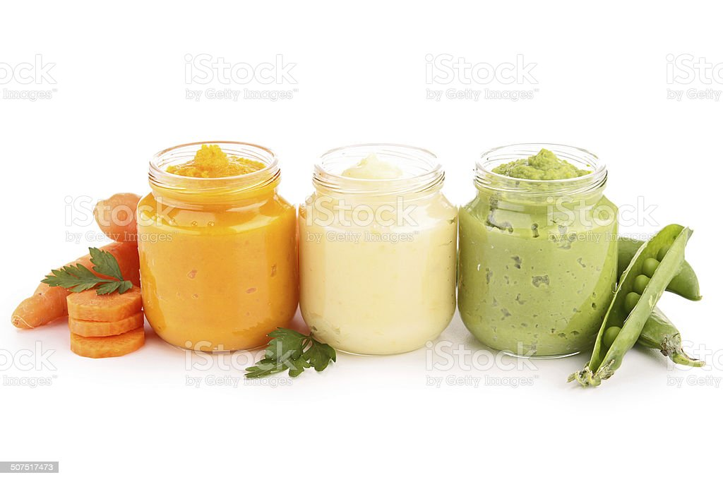 baby food, puree stock photo