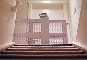 Baby gate view from basement with carpet stairs