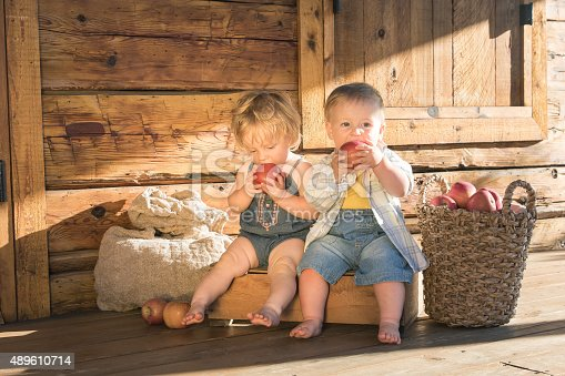 istock Baby girl and boy sitting and eating apples 489610714