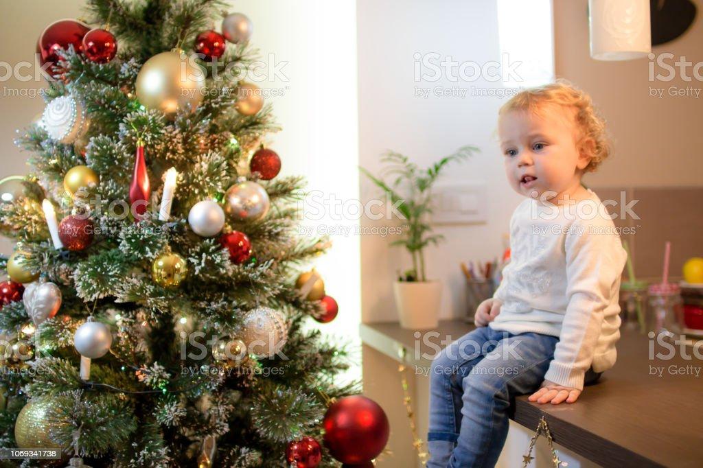 Baby girl and Christmas time