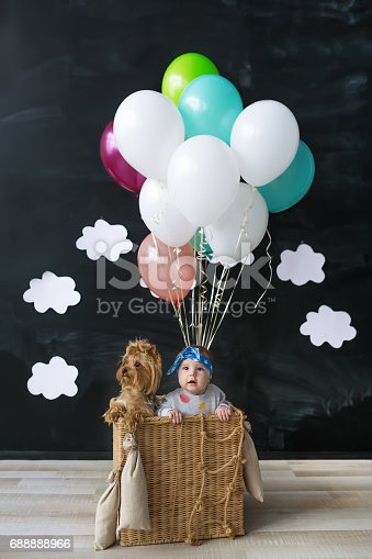 istock Baby girl and pet dog sitting in a basket of balloon 688888966