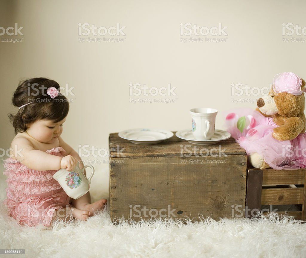 Baby Girl and Tea Time royalty-free stock photo