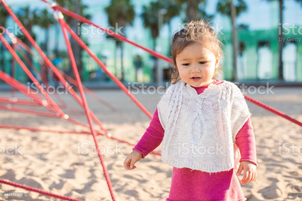 Baby girl at the beach. royalty-free stock photo