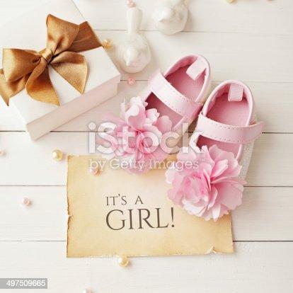 591421282 istock photo baby girl birthday greeting card 497509665