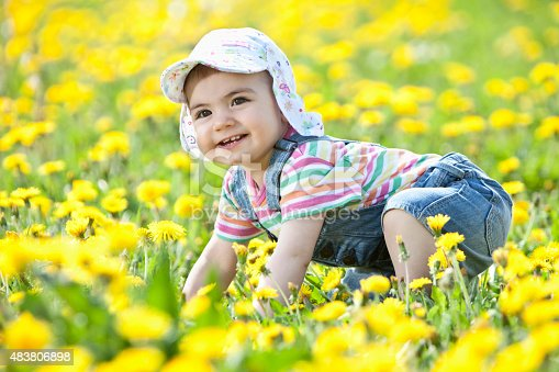 istock Baby girl crawling in flower field,smiling 483806898