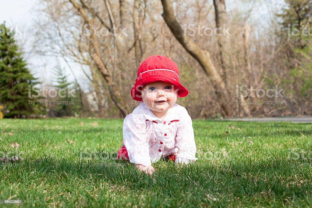 Baby girl crawling royalty-free stock photo