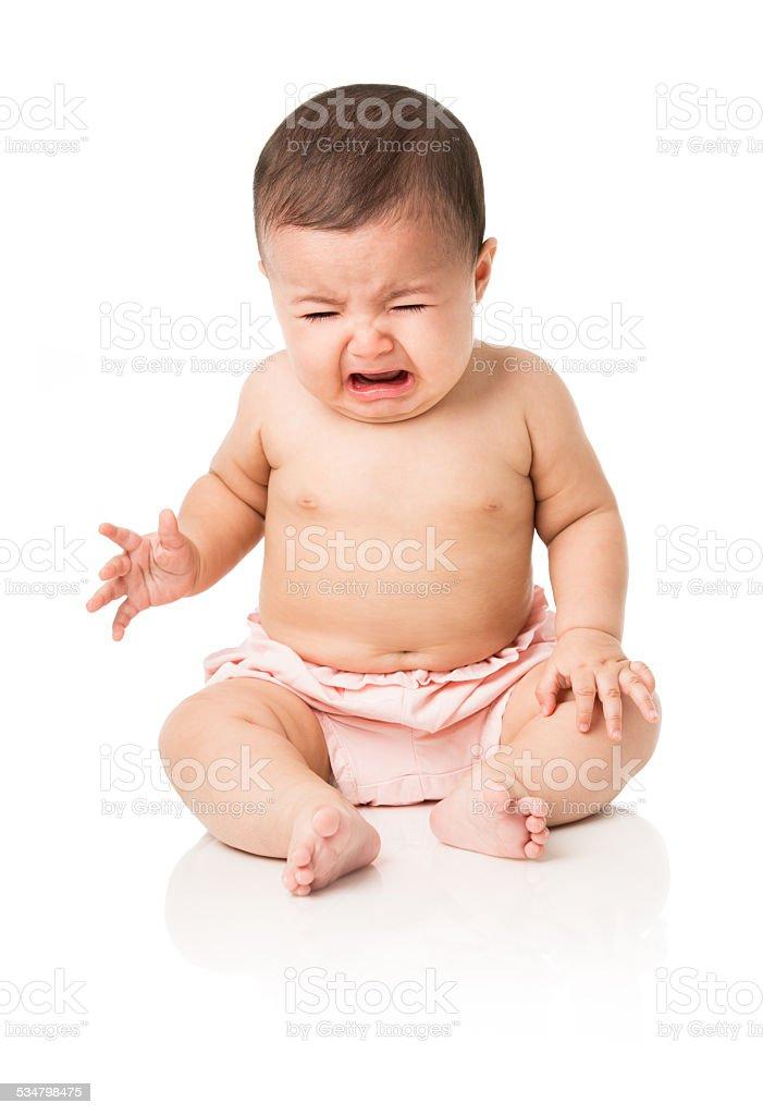 Baby girl crying stock photo