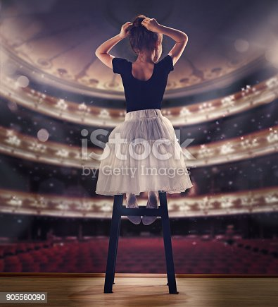 istock Baby girl dreaming a dancing ballet on the stage. Childhood concept 905560090