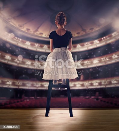 905560090 istock photo Baby girl dreaming a dancing ballet on the stage. Childhood concept 905580362